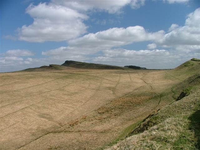 Sewingshields Crags from Clew hill
