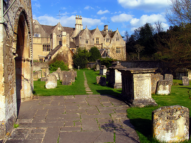 Graveyard and Village Buildings at the Church in Bibury
