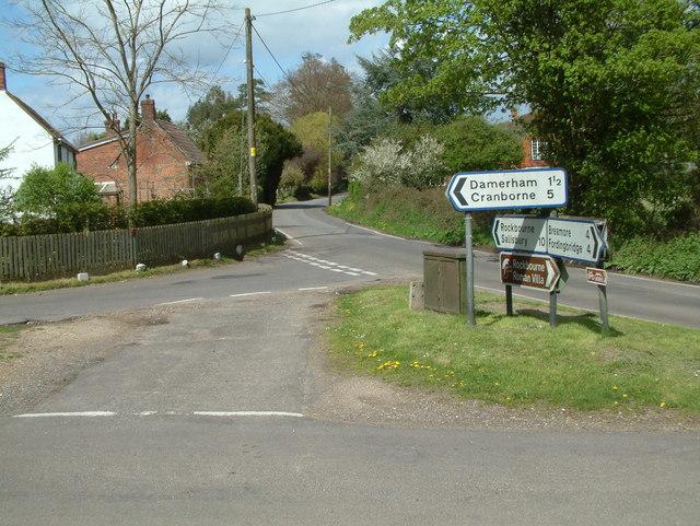 Road Junction, south of Rockbourne