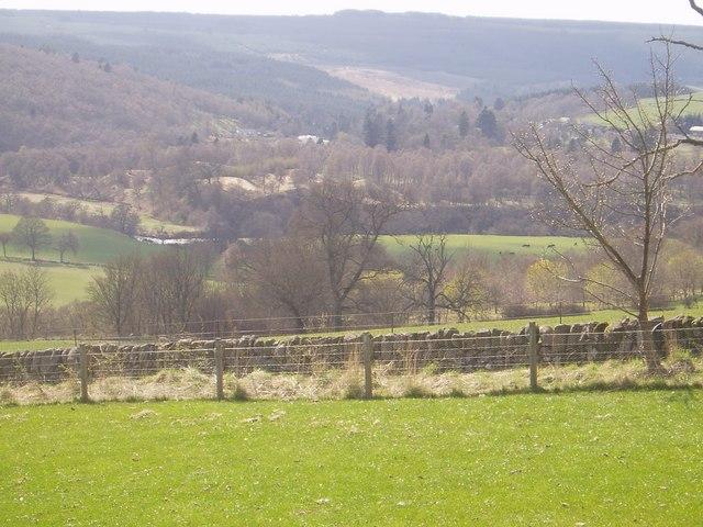 Fields and River Ericht looking towards Rochallie