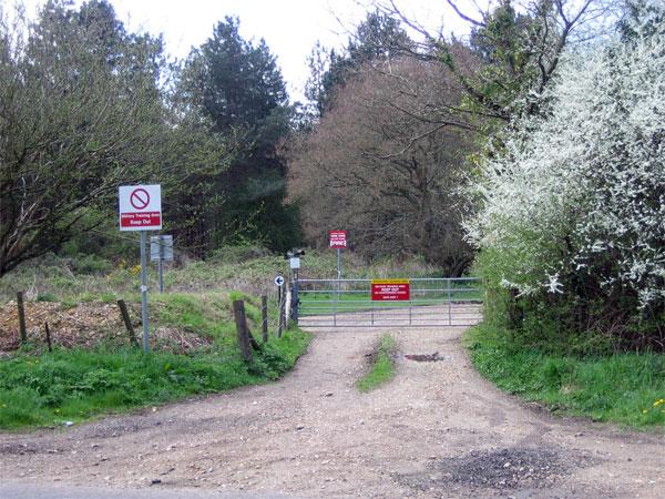 Warning notices at Woolbridge Heath