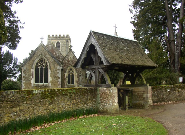 Lychgate and east end of St Nicholas's Church, Peper Harow