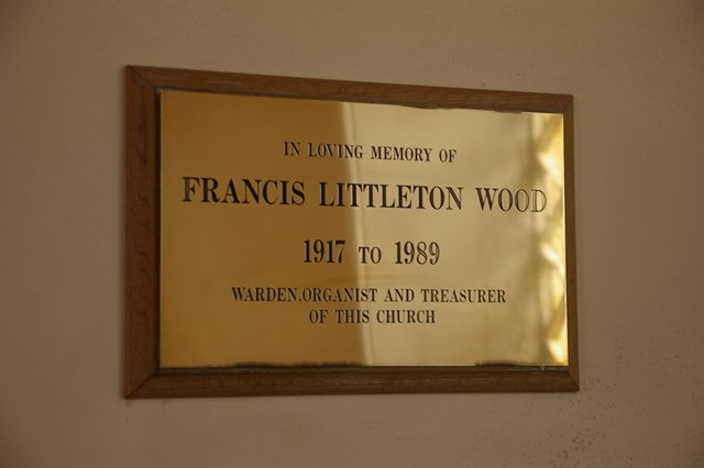 Memorial plaque to Francis Littleton Wood