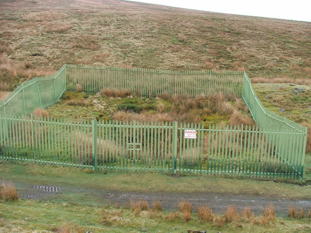 Fenced off airshaft above Blea Moor tunnel.