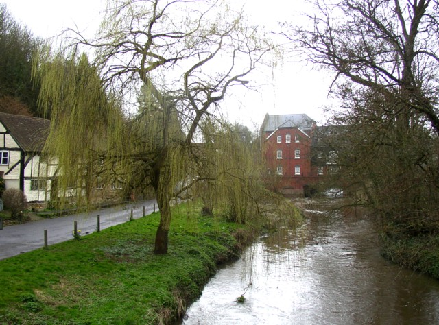 A branch of the River Wey at Eashing Bridge, Shackleford
