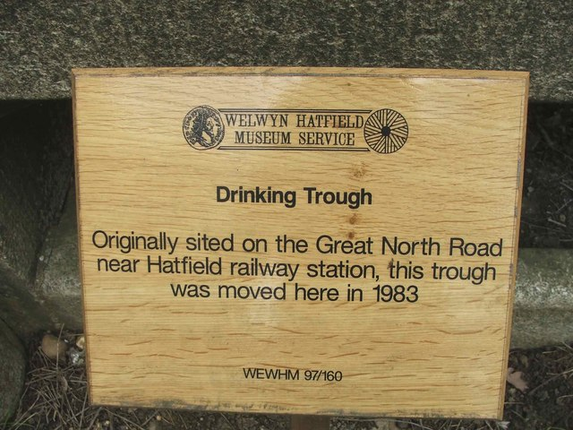 Plaque on Drinking Trough Mill Green, Hertfordshire