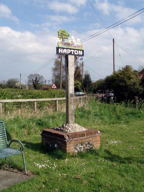 Hapton village sign