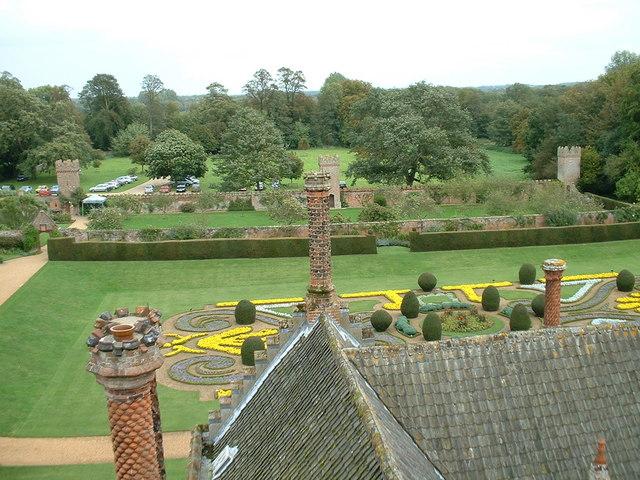 Oxburgh Hall gardens.