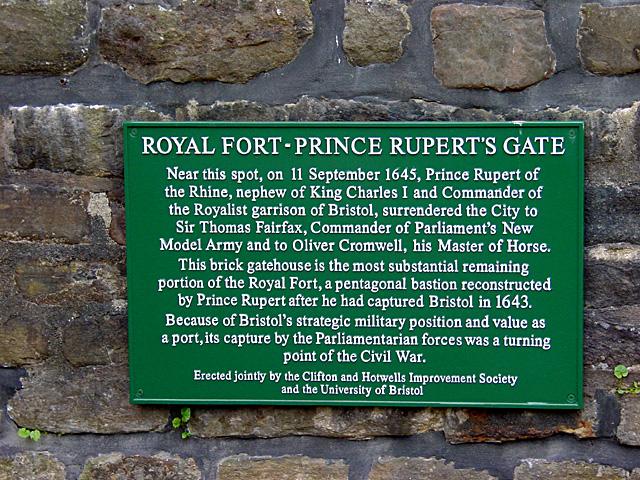 Information Plaque - Prince Rupert's Gate