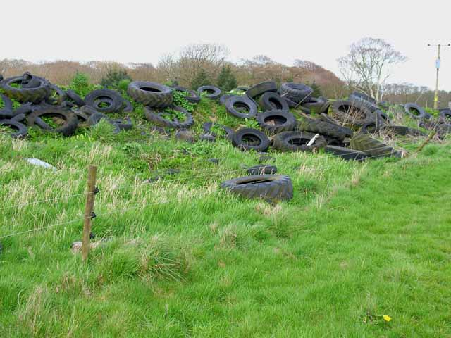 Mountain of old tyres