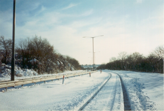 A45 empty of traffic, 1990