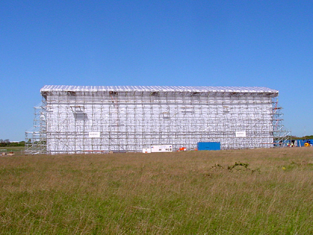 Temporary scaffolding structure on Filton Airfield