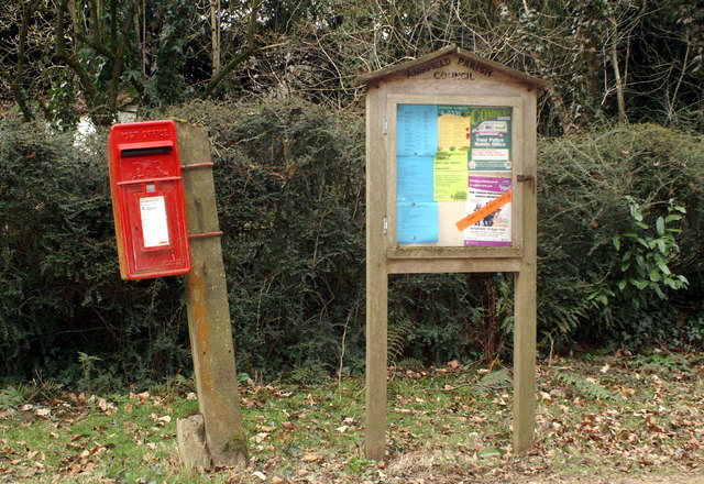 Postbox and noticeboard, Hookwood Lane