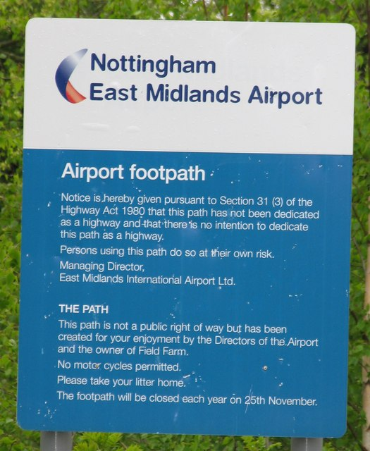 Airport Footpath Sign