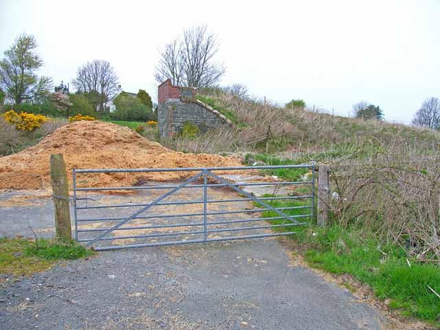 Old railway embankment and bridge abutment