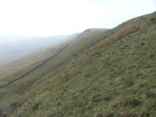 Walkers descending Low Pike.