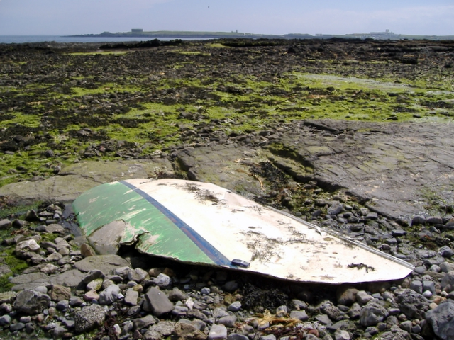 Remains of wrecked boat, near Derbyhaven