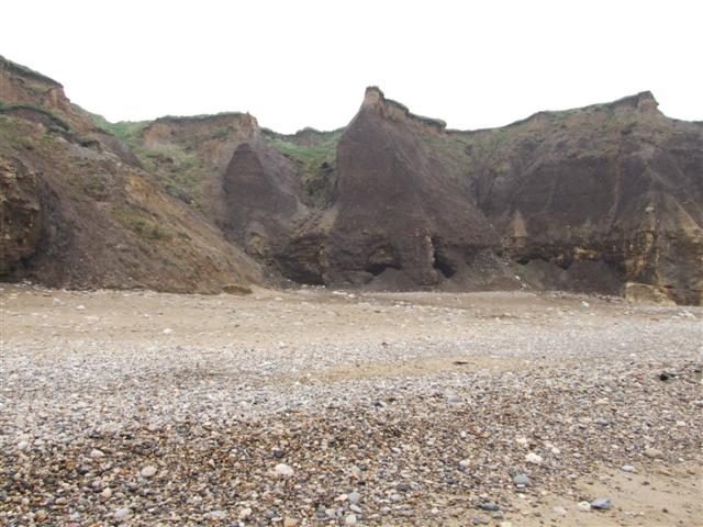 Cliffs on Seaham Beach showing the Erosion