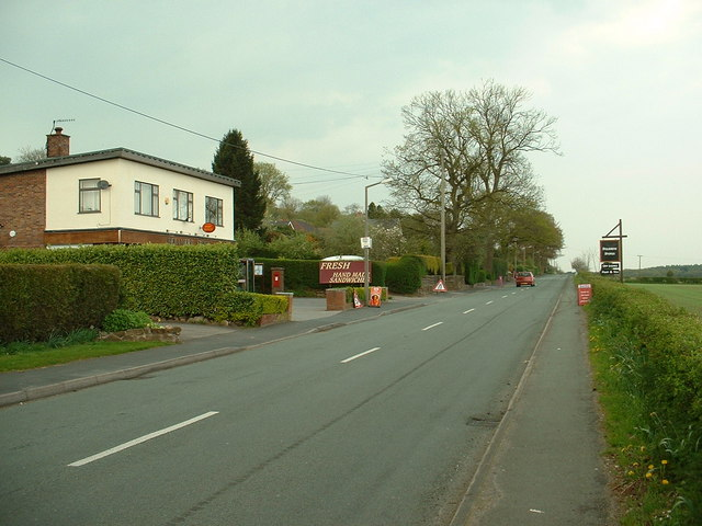 B5152 Road at Delamere village