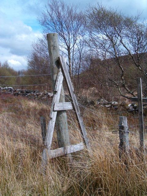 Stile on deer fence