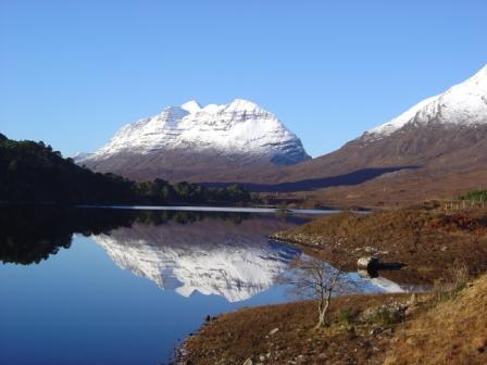 Liathach reflection from Loch Clair Glen Torridon Wester Ross