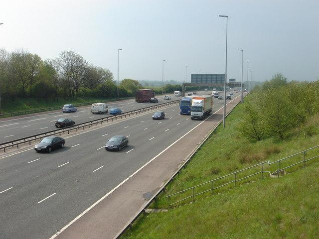 M6 motorway, looking SSW