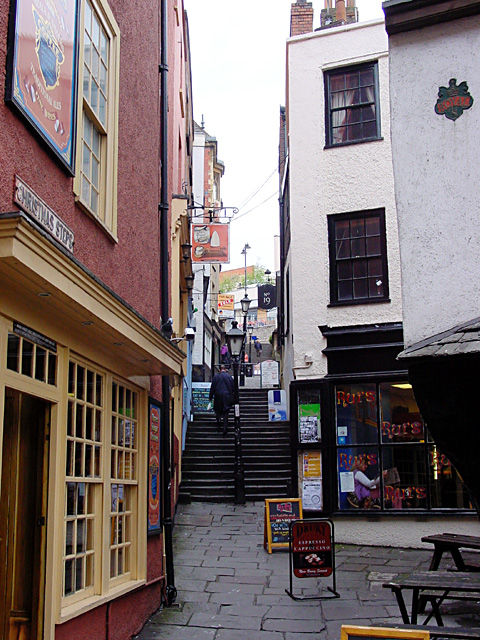 Christmas Steps, looking up