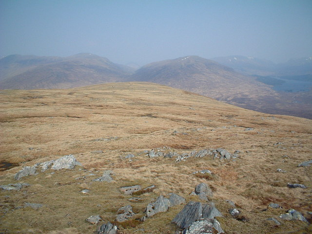 Along the ridge from Beinn a' Bhric, Loch Ossian visible in the distance