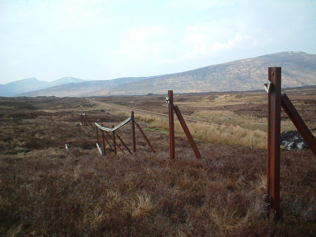 The rail line approaching Corrour and an old snowfence ?