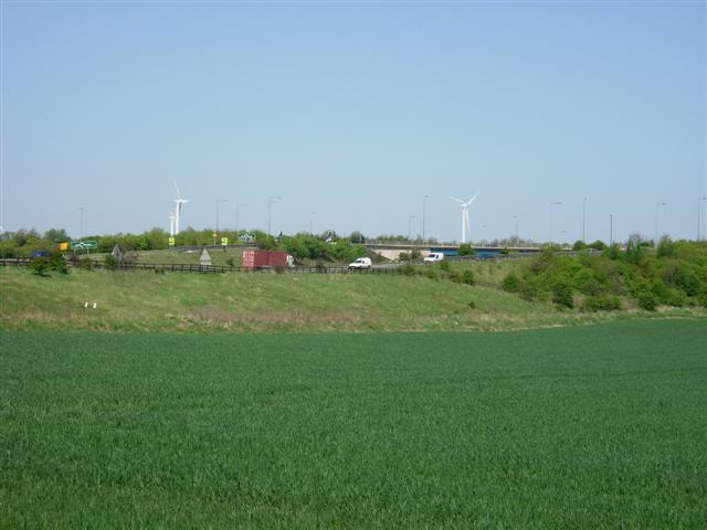 A19 - A1231 interchange with wind turbines in the background