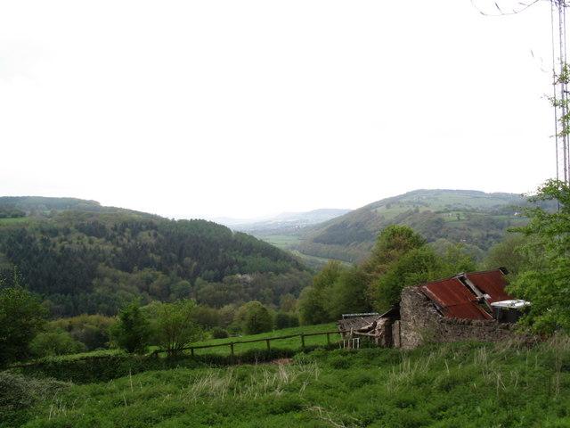 View north from Offa's Dyke path, below Highbury Farm