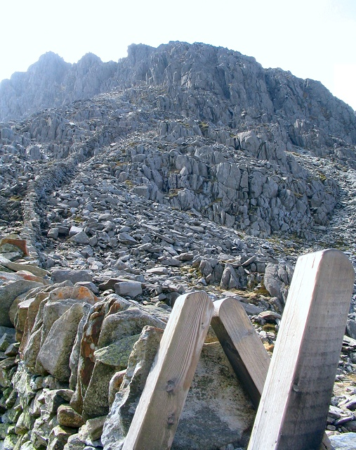 The wall up Bristly Ridge