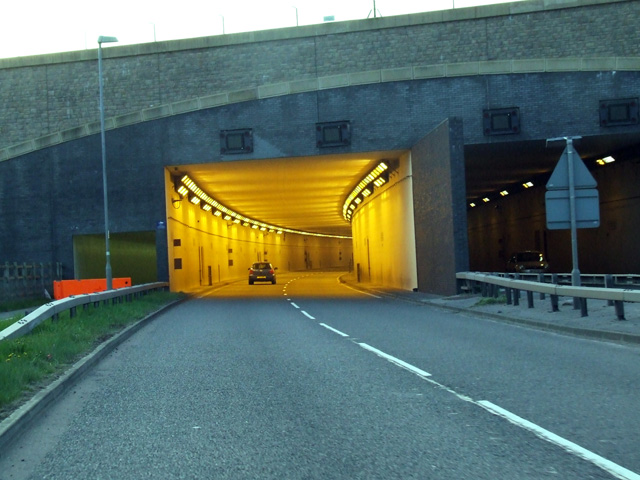 View looking into the tunnel under runway 2