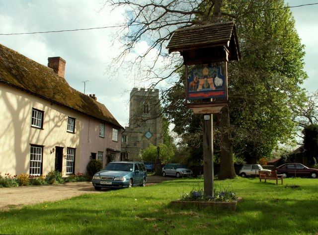 Village sign at Stoke by Clare, Suffolk