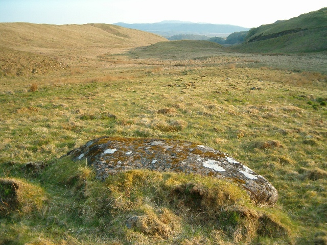 Cup-marked rock in landscape