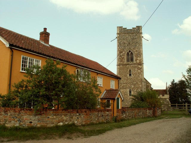 Church and Cottages at Rede, Suffolk