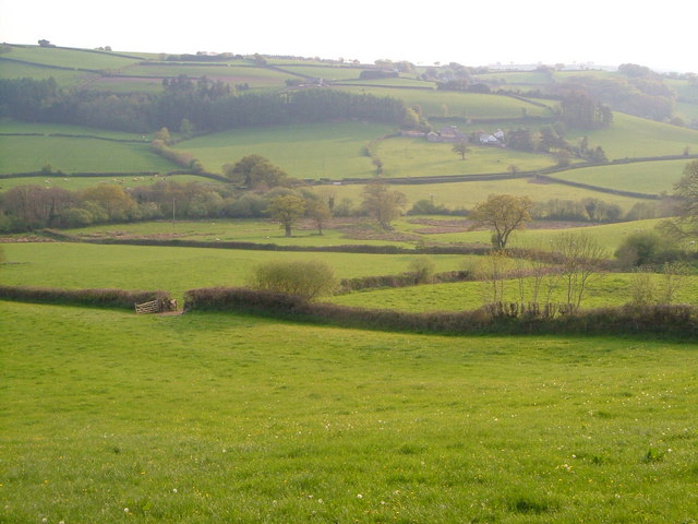 Saint Hill Farm from the lane near Linscott