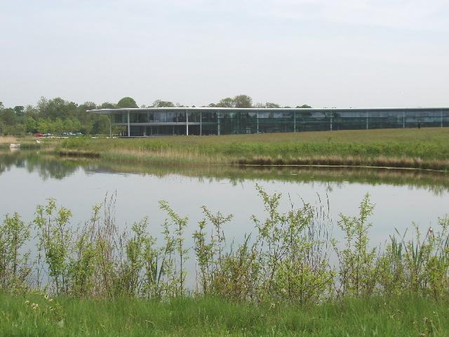 McLaren Technology Centre across the lake