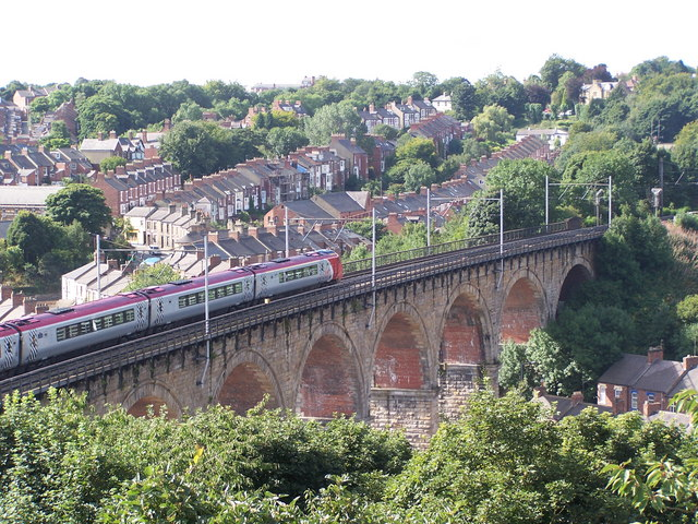 Virgin Voyager crossing Durham Viaduct