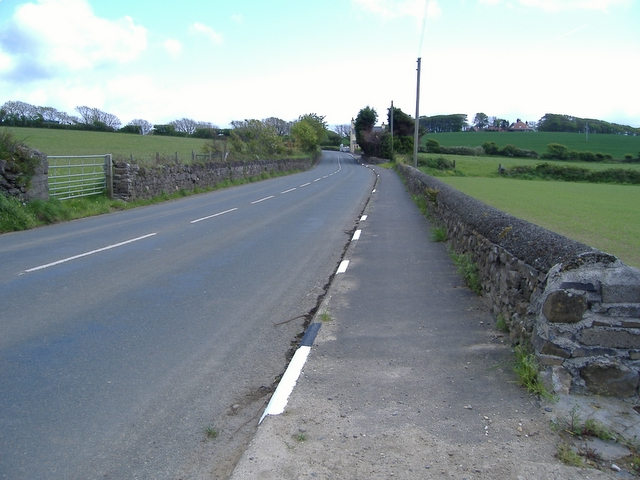 The A 7 road , just past Ballawhetstone.