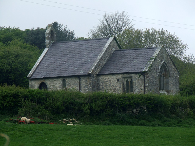 Church near to the Bwrdd Arthur ancient fort