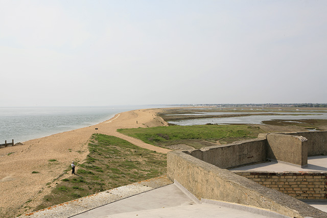 Hurst Spit seen from western end of Hurst Castle roof