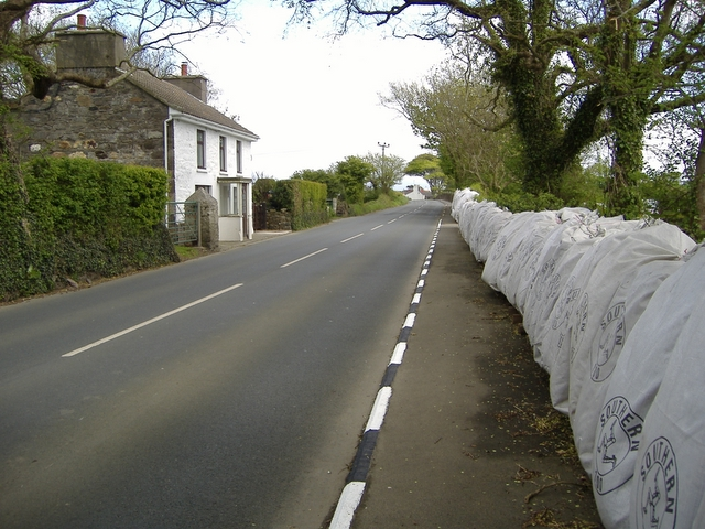 The A 7 road heading East towards Billown farm