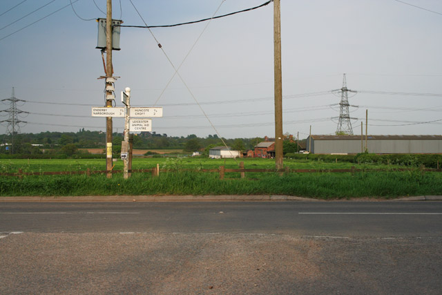 At the end of Enderby Road, near Thurlaston
