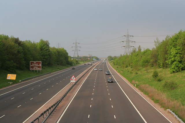 Looking towards Leicester along the M69