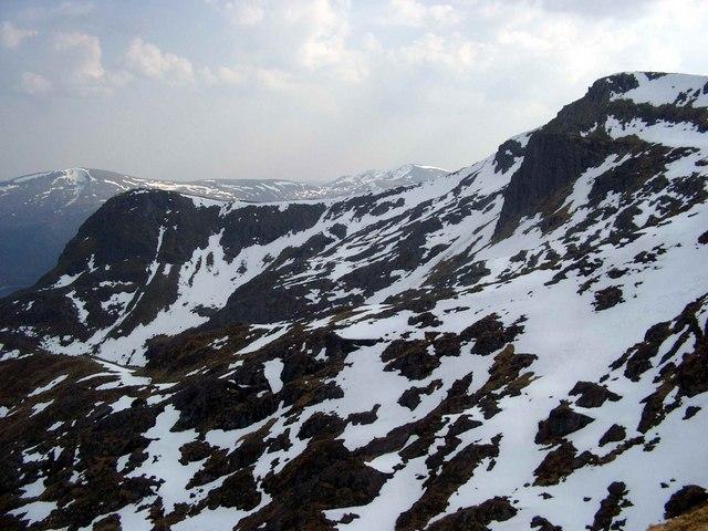 The ridge between Sgurr na Lapaich and Sgurr nan Clachan Geala