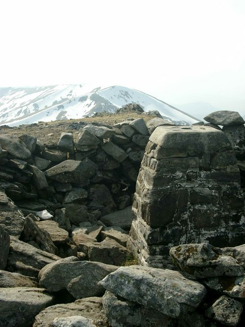 The summit trig on Sgurr na Lapaich
