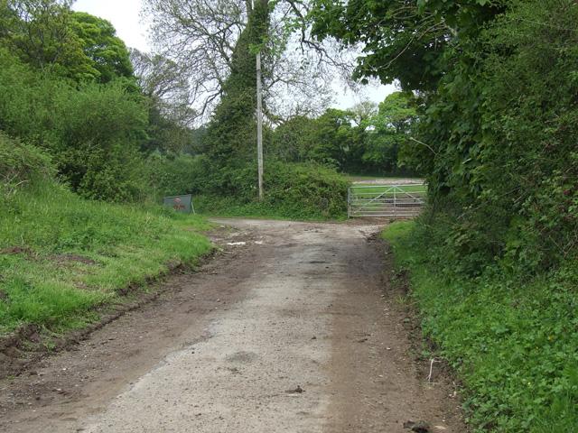 Muddy unclassified lane near to Wern Farm
