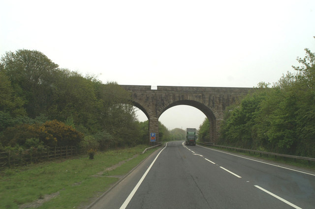 The A30 passes under the London-Penzance line