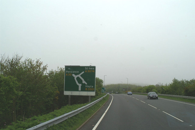 Southern end of the Hayle bypass on the A30